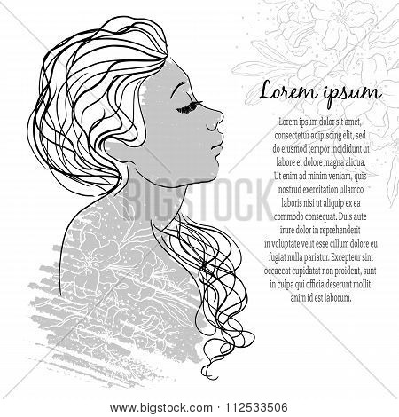 Beautiful girl face. Perfect design element. Vector Illustration wirh grange effects