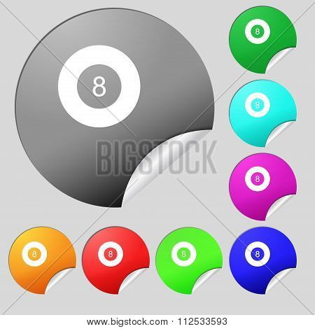 Eightball, Billiards  Icon Sign. Set Of Eight Multi Colored Round Buttons, Stickers.