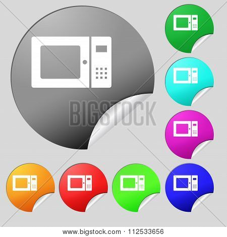 Microwave Icon Sign. Set Of Eight Multi Colored Round Buttons, Stickers.