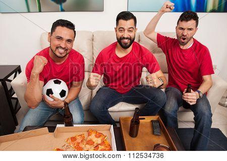 Hardcore Soccer Fans Celebrating