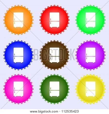 Refrigerator Icon Sign. A Set Of Nine Different Colored Labels.