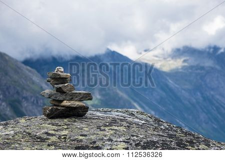 Landscape With Mountains And Clouds In Norway