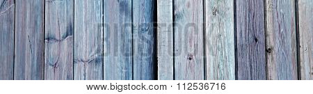 Old Blue Doors With Wood Planks, Background Texture - Panorama.