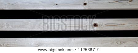 Wooden Slats On Black Background Texture, Wood Panoramic / Banner.