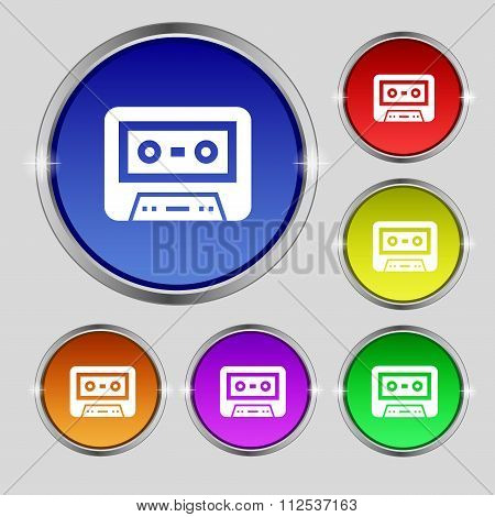 Audiocassette Icon Sign. Round Symbol On Bright Colourful Buttons.