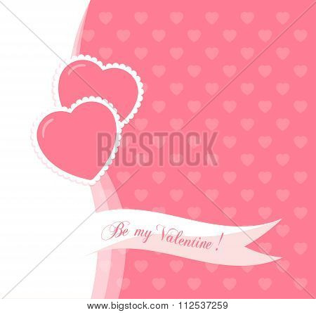 Banner For Design Posters Or Invitations On Valentine's Day With Two Cutest Symbol Hearts And Ti
