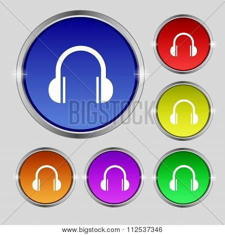 Headphones Icon Sign. Round Symbol On Bright Colourful Buttons.