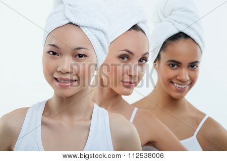 Attractive young women are resting after shower