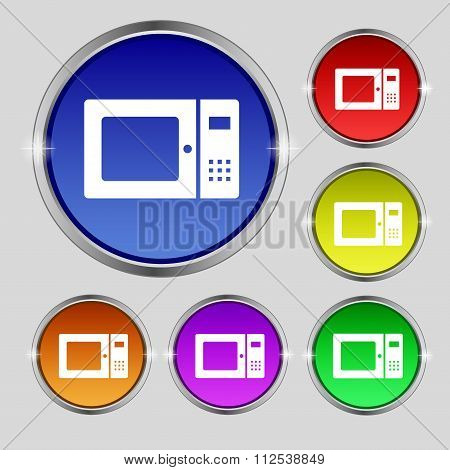 Microwave Icon Sign. Round Symbol On Bright Colourful Buttons.