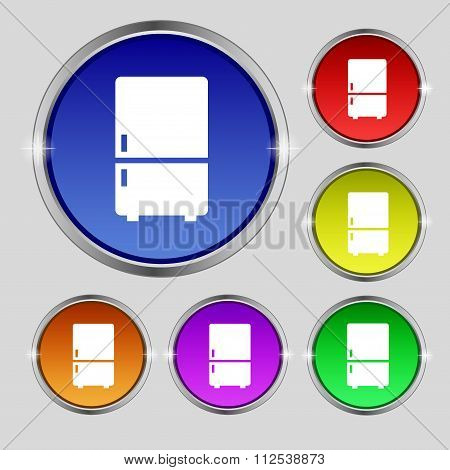 Refrigerator Icon Sign. Round Symbol On Bright Colourful Buttons.