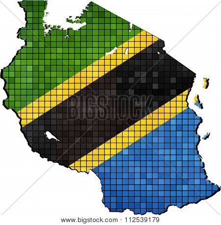 Tanzania Map With Flag Inside.eps
