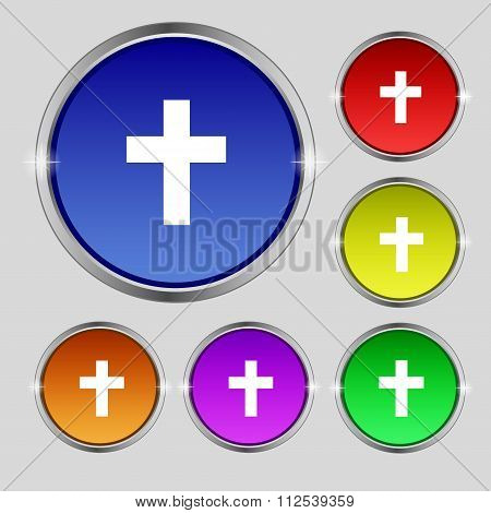 Religious Cross, Christian Icon Sign. Round Symbol On Bright Colourful Buttons.