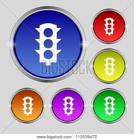 Traffic Light Signal Icon Sign. Round Symbol On Bright Colourful Buttons.