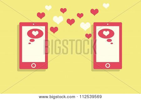 Love letters using the phone. Sms message. Flat. Lovers.
