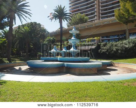 Ceramic Tile  Seating Bench With Fountain In Park Monte Carlo Monaco Euop