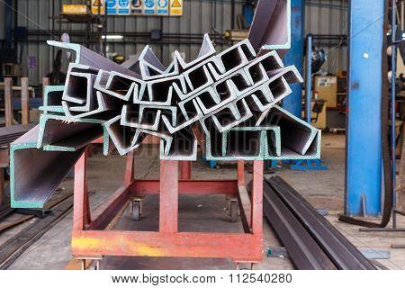 Heap Of U Shape Beam Steel In Factory Shelf