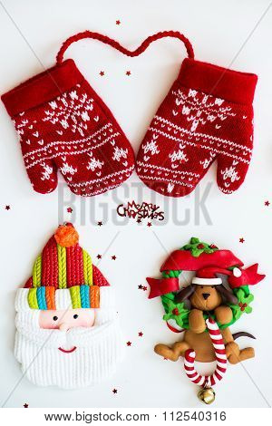 Merry Christmas Symbols - Letters, Red Knitted Mittens, Santa, Dog On Xmas Wraeth With Lolly, Little