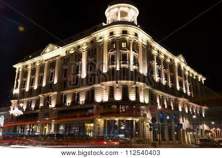 Hotel Bristol in Warsaw at night