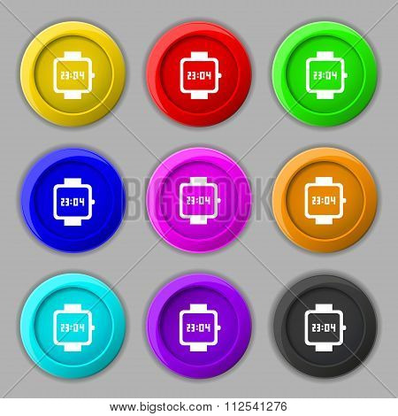 Wristwatch Icon Sign. Symbol On Nine Round Colourful Buttons.