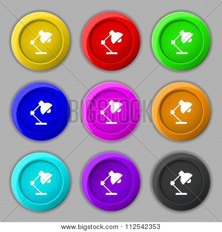 Reading-lamp And Lighting, Illumination Icon Sign. Symbol On Nine Round Colourful Buttons.