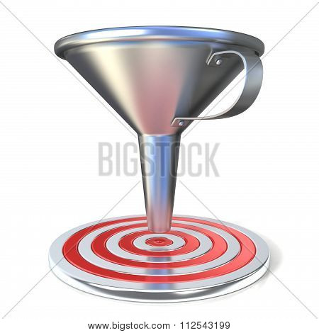Empty steel funnel and red target. Concept of conversion rate conversion funnel or flow control