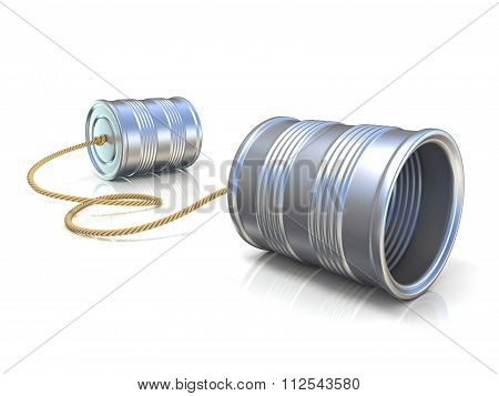 Communication concept: tin can children telephone with rope. 3D