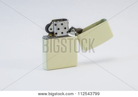Metal Lighter On A White Background