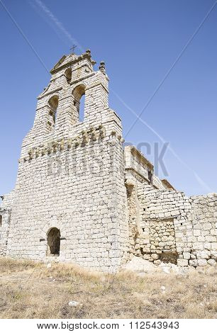 Ruins of El Salvador church in Mota del Marqués town on a summer day, Valladolid, Spain