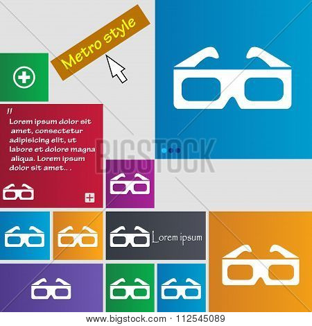 3D Glasses Icon Sign. Buttons. Modern Interface Website Buttons With Cursor Pointer.