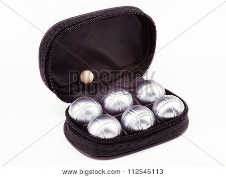 Petanque set with six metal balls in black case