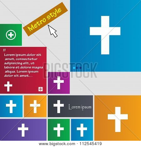 Religious Cross, Christian Icon Sign. Buttons. Modern Interface Website Buttons With Cursor