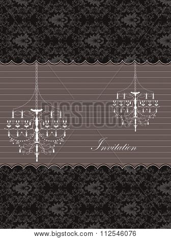 Vintage invitation card with ornate elegant retro abstract floral design, dark gray flowers and leaves on black background with chandeliers stripes and text label. Vector illustration.