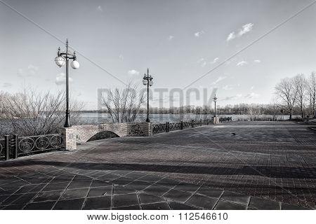 Walkway along the Dnieper River in the Obolon district of Kiev Ukraine.