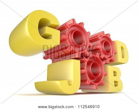The words GOOD JOB in 3D letters and gear wheels