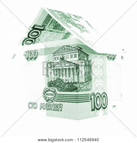 Russian Money Ruble Development, Rouble Banknote Investment Isolated, White Background