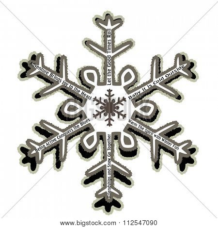 Rugged Snowflake with Winter messages use with or without