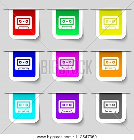 Audiocassette Icon Sign. Set Of Multicolored Modern Labels For Your Design.