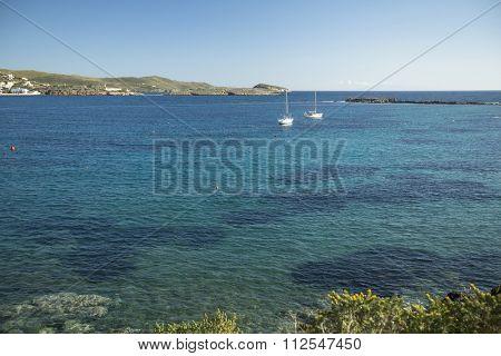 ANDROS - SYROS, GREECE - CIRCA APR, 2014: sailboats participate in sailing regatta 11th Ellada 2014 among Greek island group in the Aegean Sea, in Cyclades and Argo-Saronic Gulf.