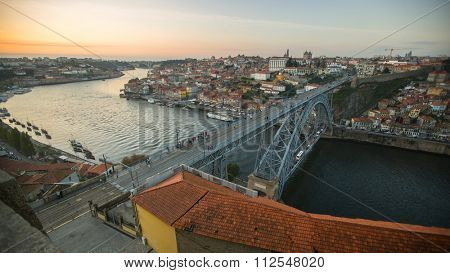 PORTO, PORTUGAL - CIRCA JUN, 2015: Top View of Luiz I iron bridge. In 1996, UNESCO recognised Old Town of Porto as a World Heritage Site.