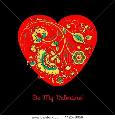 Valentine Card With Flowers On A Red Heart