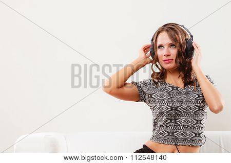 Woman In Headphones Listening Music Mp3 Relaxing