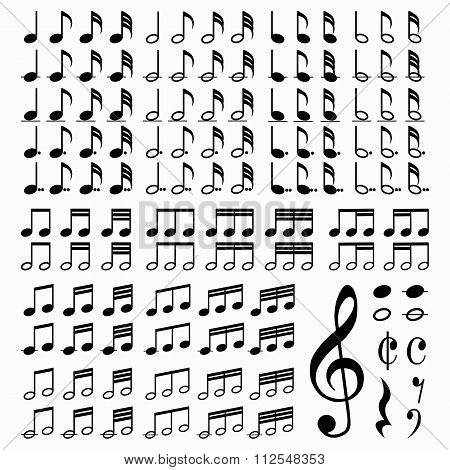 Set of Music notes. Vector illustration.