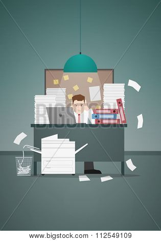 Stressful businessman in office with too many stack of paper and folder on his desk. Vector illustration.