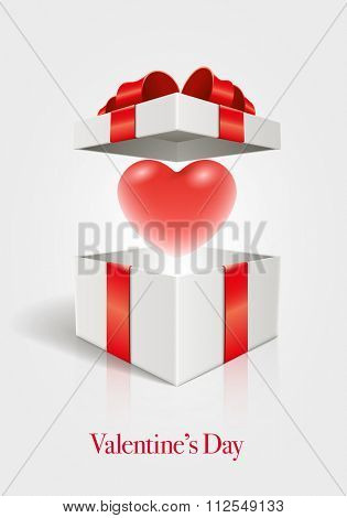 Vector Valentine's Day design template. Heart in open gift box. Elements are layered separately in vector file.