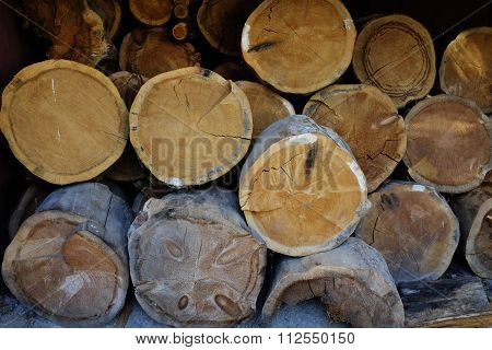 Stack Of Firewood In Rustic Barn