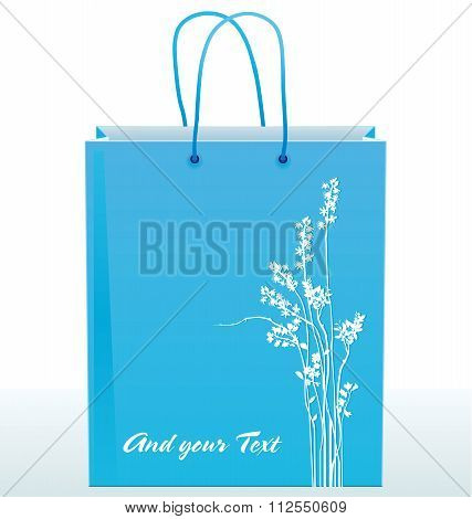 Paper Shopping Bag Decorated With Silhouettes Of Flowers