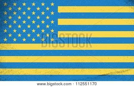 Flags Of Countries. Ukraine And Usa Combined Together. Vector Illustration.