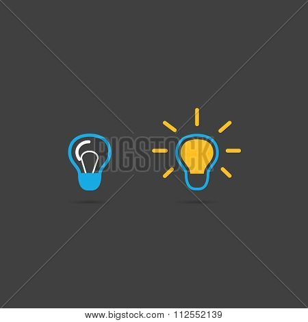 Colorful Light bulbs. Bulb icon set. Switch on and switch off.