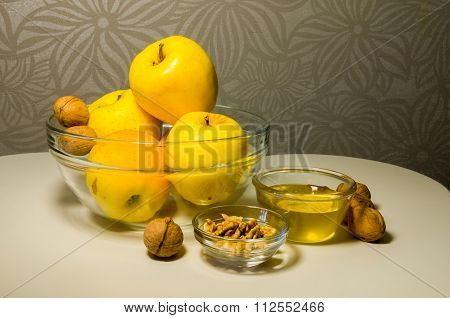 Jewish Holiday Rosh Hashanah (new Year) Celebration With Honey And Apples