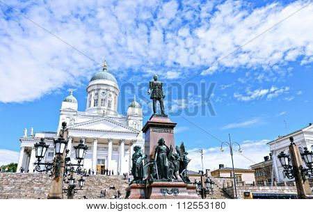 Cathedral Of St. Nicholas (cathedral Basilica) And Monument To Alexander II